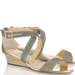 Jimmy Choo Chiara Light Bronze Wedge Sandals